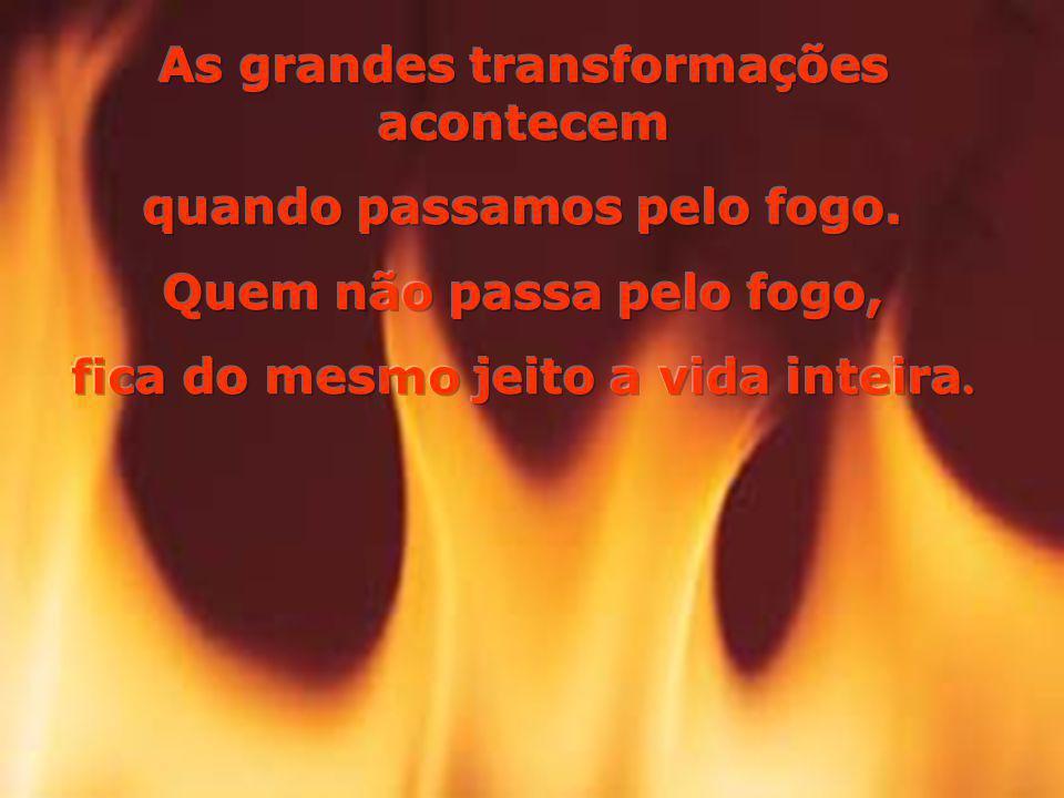 As grandes transformações acontecem quando passamos pelo fogo.