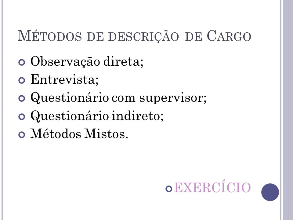 Métodos de descrição de Cargo