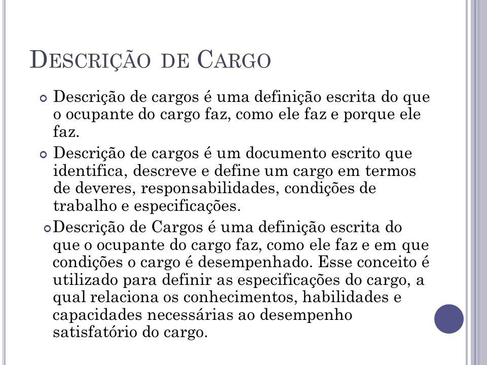 Descrição de Cargo Descrição de cargos é uma definição escrita do que o ocupante do cargo faz, como ele faz e porque ele faz.