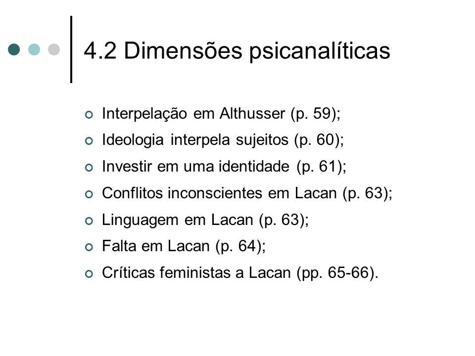 4.2 Dimensões psicanalíticas