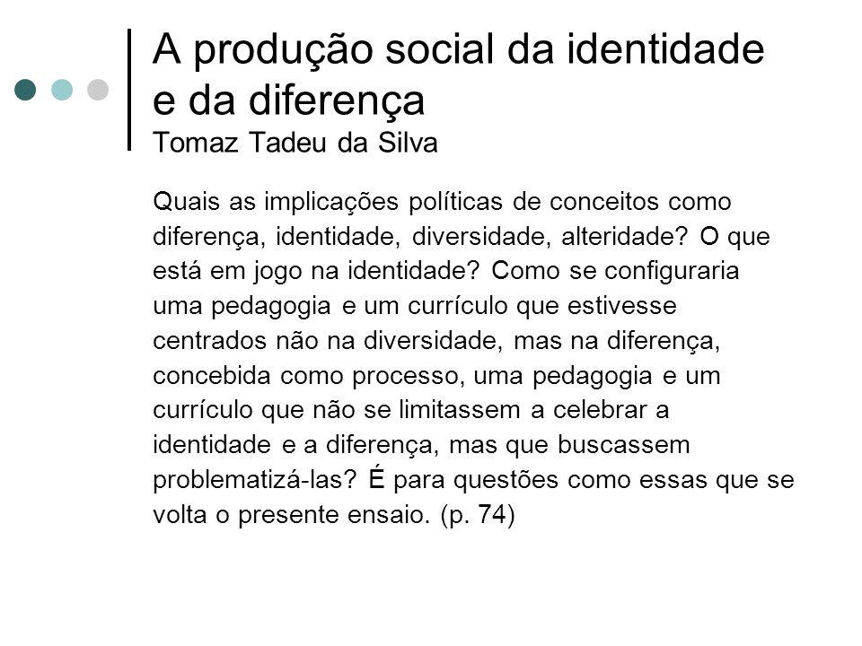 A produção social da identidade e da diferença Tomaz Tadeu da Silva
