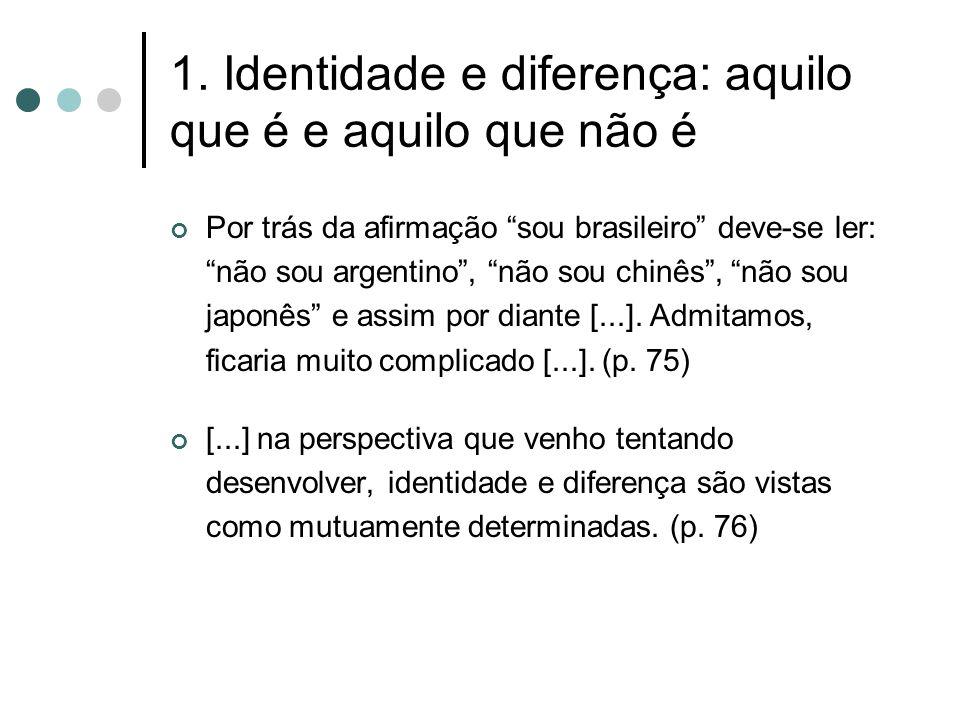 1. Identidade e diferença: aquilo que é e aquilo que não é