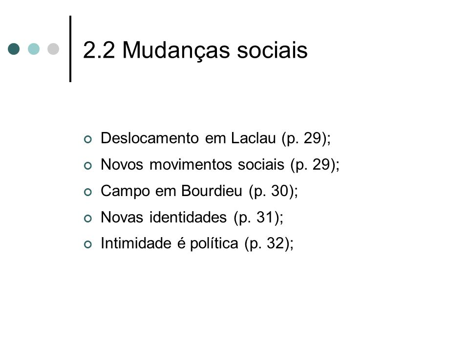 2.2 Mudanças sociais Deslocamento em Laclau (p. 29);