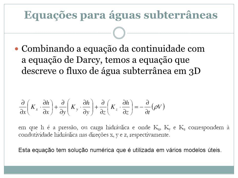 Equações para águas subterrâneas