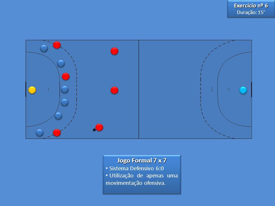 Jogo Formal 7 x 7 Exercício nº 6 Sistema Defensivo 6:0