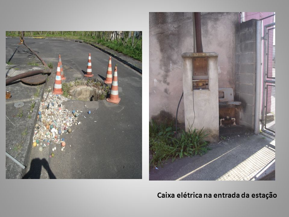 Caixa elétrica na entrada da estação
