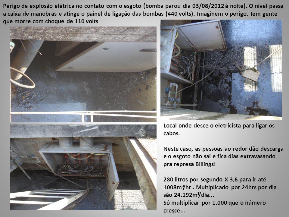 Perigo de explosão elétrica no contato com o esgoto (bomba parou dia 03/08/2012 à noite). O nível passa a caixa de manobras e atinge o painel de ligação das bombas (440 volts). Imaginem o perigo. Tem gente que morre com choque de 110 volts