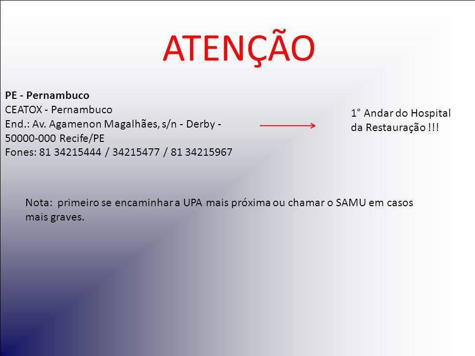 PE - Pernambuco CEATOX - Pernambuco End. : Av