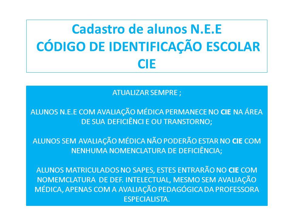 Cadastro de alunos N.E.E CÓDIGO DE IDENTIFICAÇÃO ESCOLAR CIE