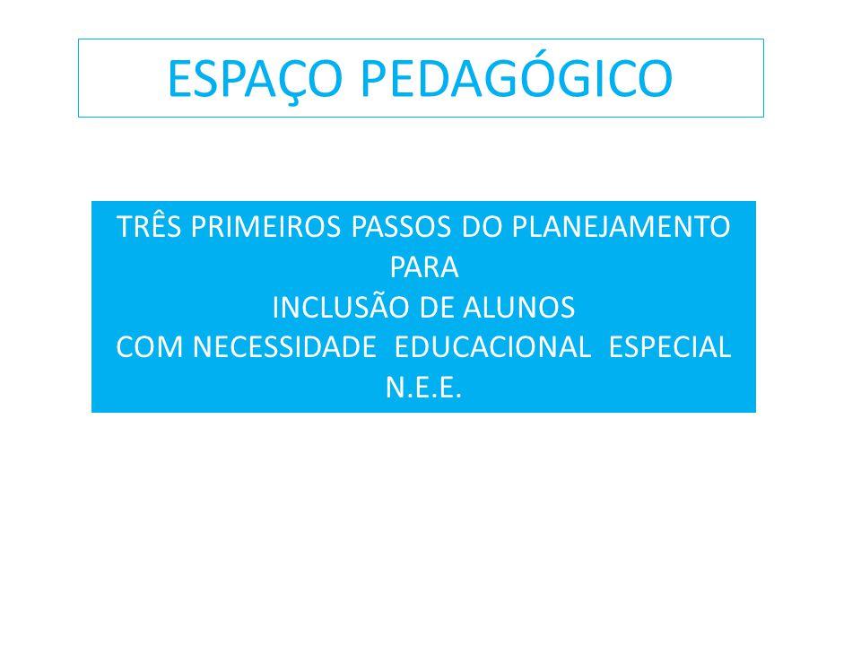ESPAÇO PEDAGÓGICO TRÊS PRIMEIROS PASSOS DO PLANEJAMENTO PARA