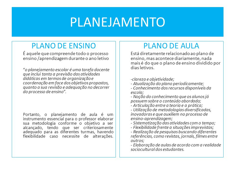 PLANEJAMENTO PLANO DE ENSINO PLANO DE AULA