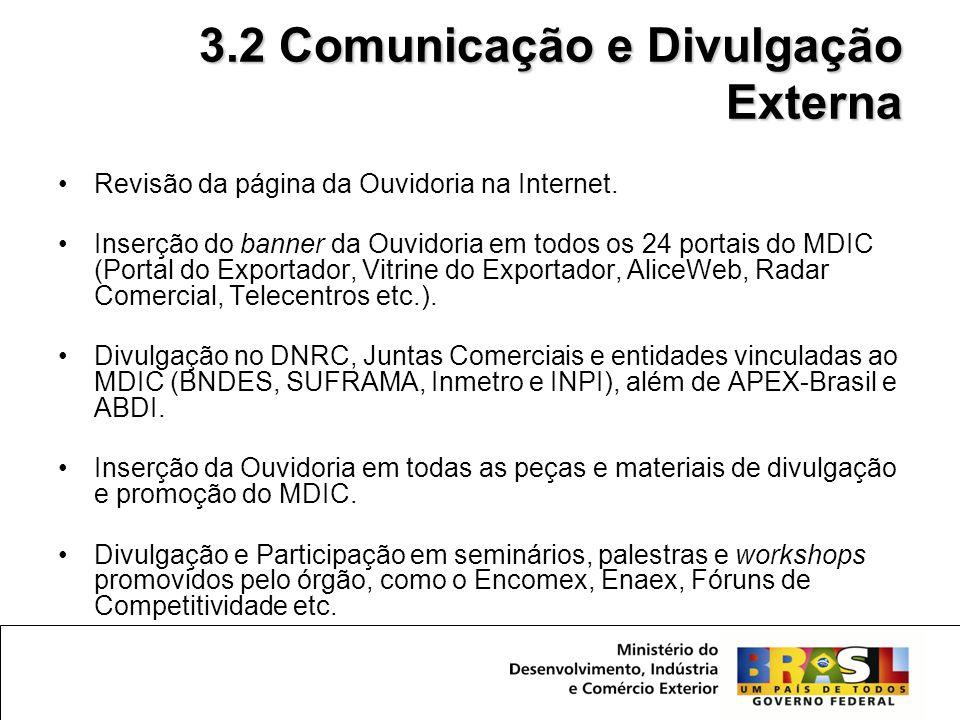 3.2 Comunicação e Divulgação Externa