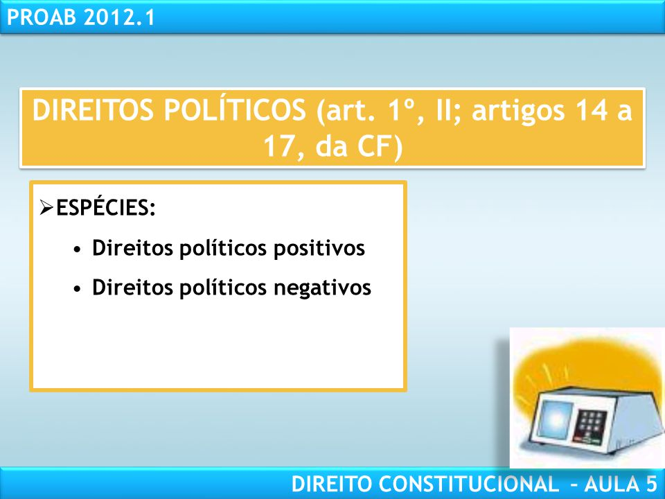 DIREITOS POLÍTICOS (art. 1º, II; artigos 14 a 17, da CF)
