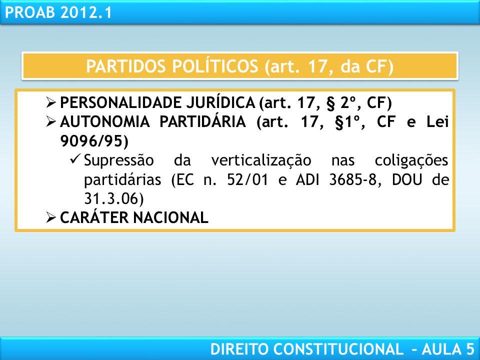 PARTIDOS POLÍTICOS (art. 17, da CF)