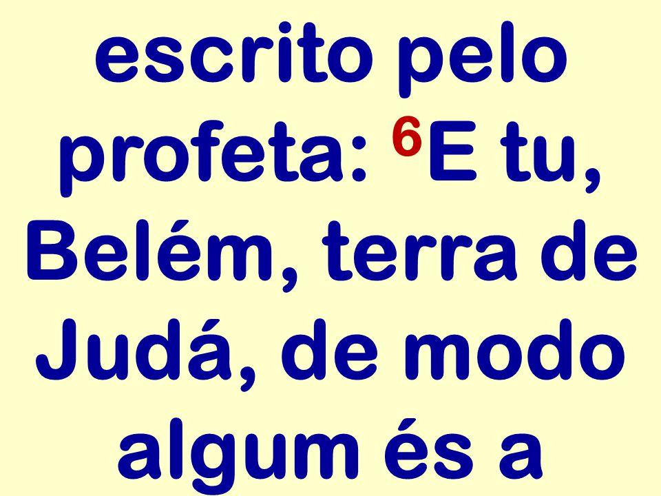 escrito pelo profeta: 6E tu, Belém, terra de Judá, de modo algum és a