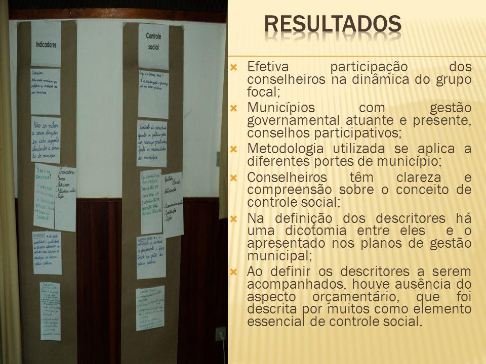 RESULTADOS Efetiva participação dos conselheiros na dinâmica do grupo focal;