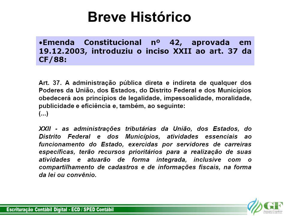 Breve Histórico Emenda Constitucional nº 42, aprovada em 19.12.2003, introduziu o inciso XXII ao art. 37 da CF/88: