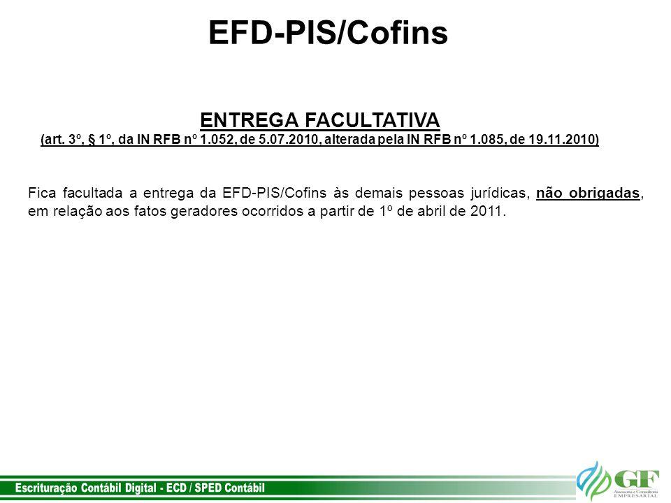 EFD-PIS/Cofins ENTREGA FACULTATIVA