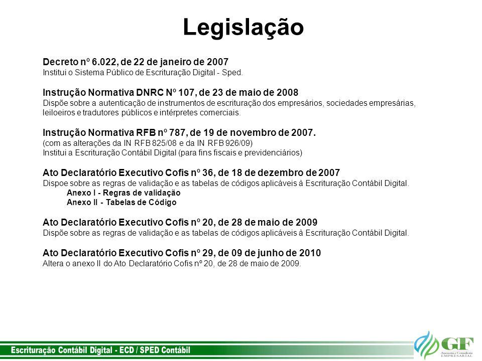 Legislação Decreto nº 6.022, de 22 de janeiro de 2007 Institui o Sistema Público de Escrituração Digital - Sped.