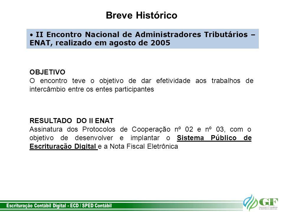 Breve Histórico II Encontro Nacional de Administradores Tributários – ENAT, realizado em agosto de 2005.