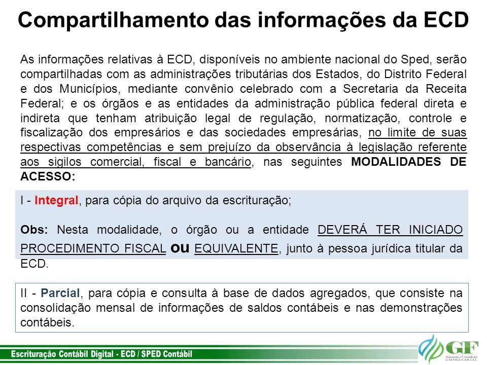 Compartilhamento das informações da ECD