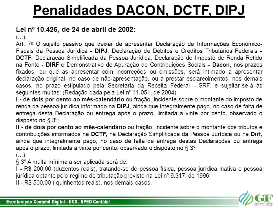 Penalidades DACON, DCTF, DIPJ
