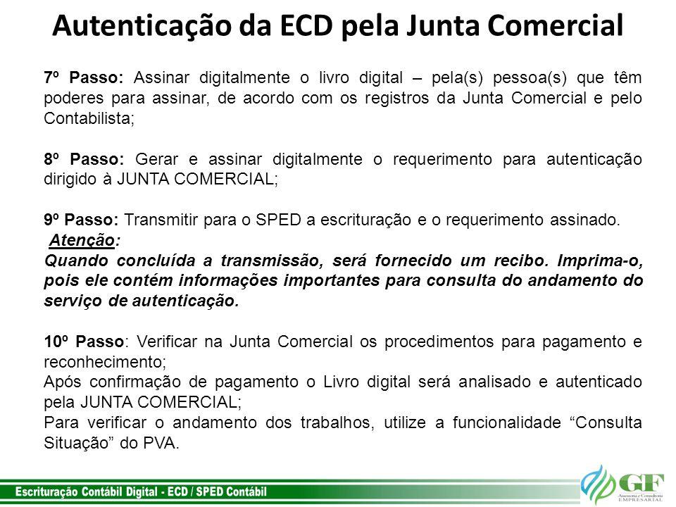 Autenticação da ECD pela Junta Comercial