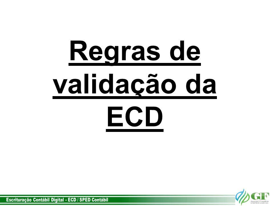 Regras de validação da ECD