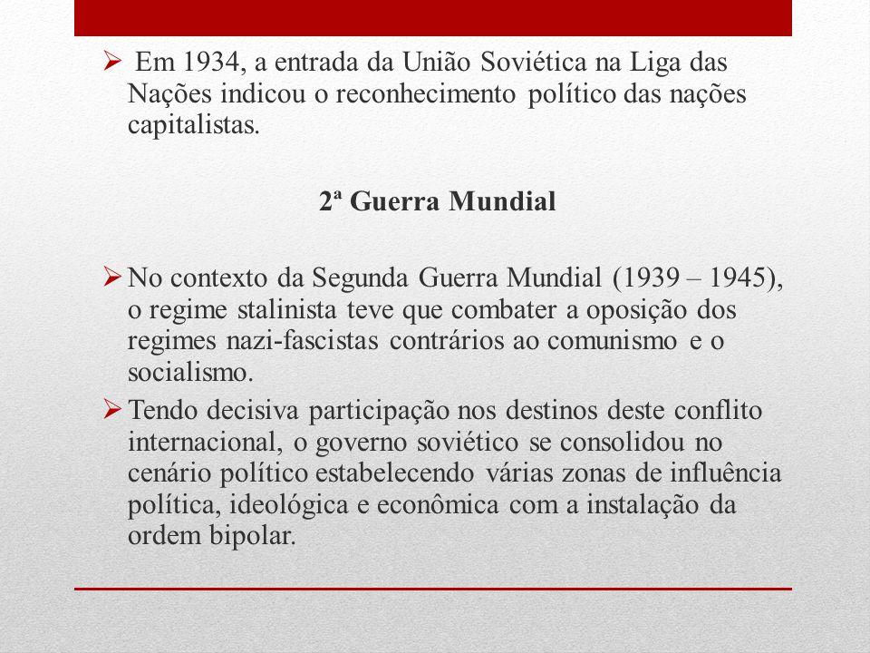 Em 1934, a entrada da União Soviética na Liga das Nações indicou o reconhecimento político das nações capitalistas.