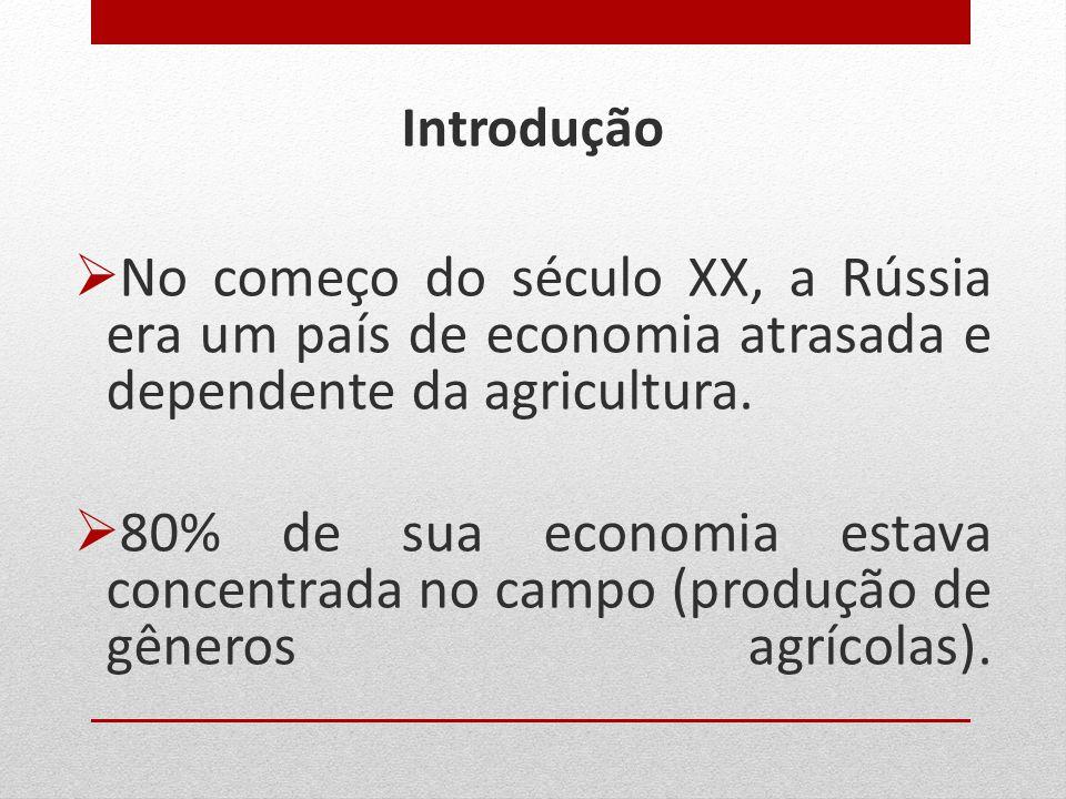 Introdução No começo do século XX, a Rússia era um país de economia atrasada e dependente da agricultura.