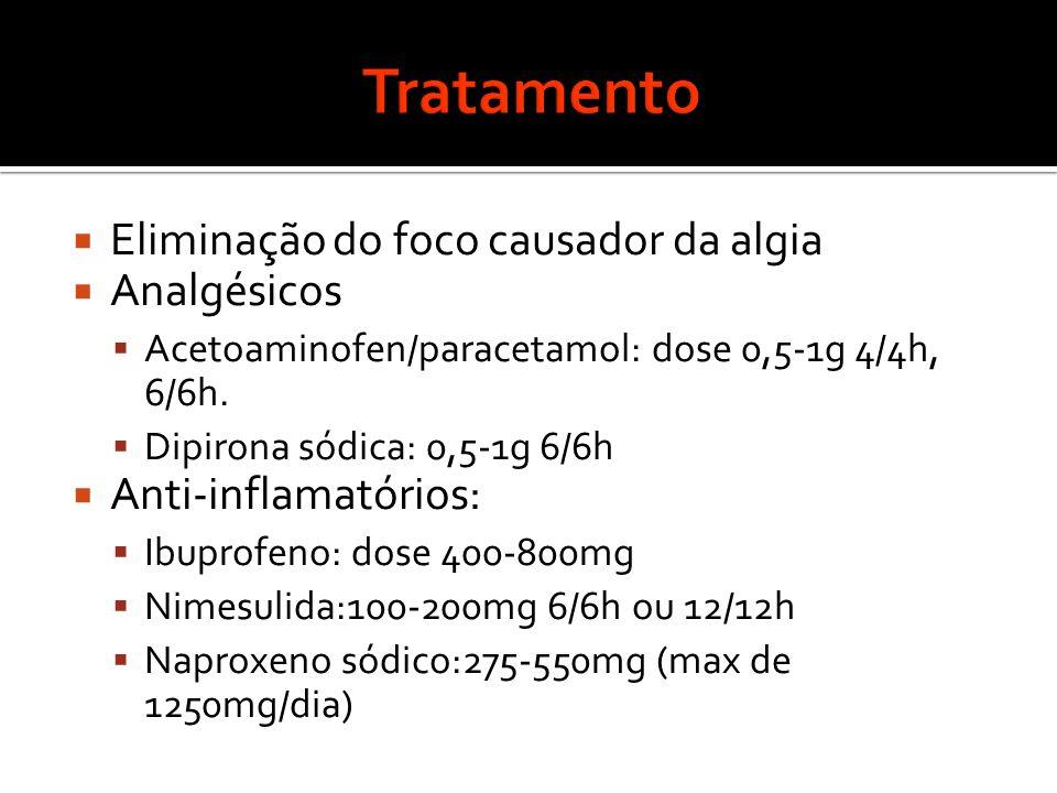 Tratamento Eliminação do foco causador da algia Analgésicos