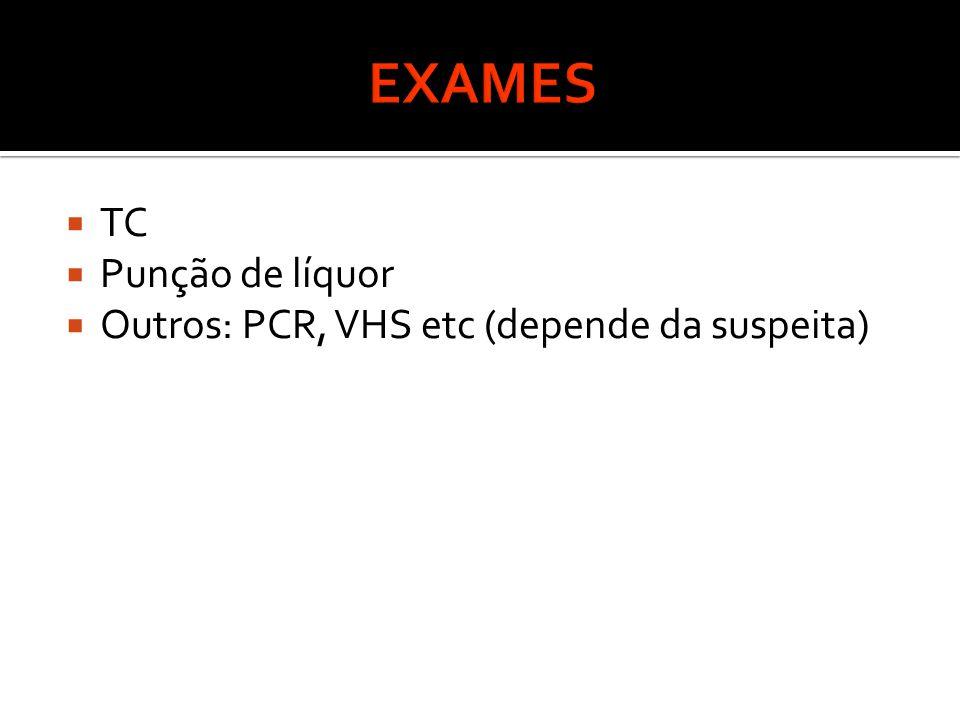 EXAMES TC Punção de líquor Outros: PCR, VHS etc (depende da suspeita)