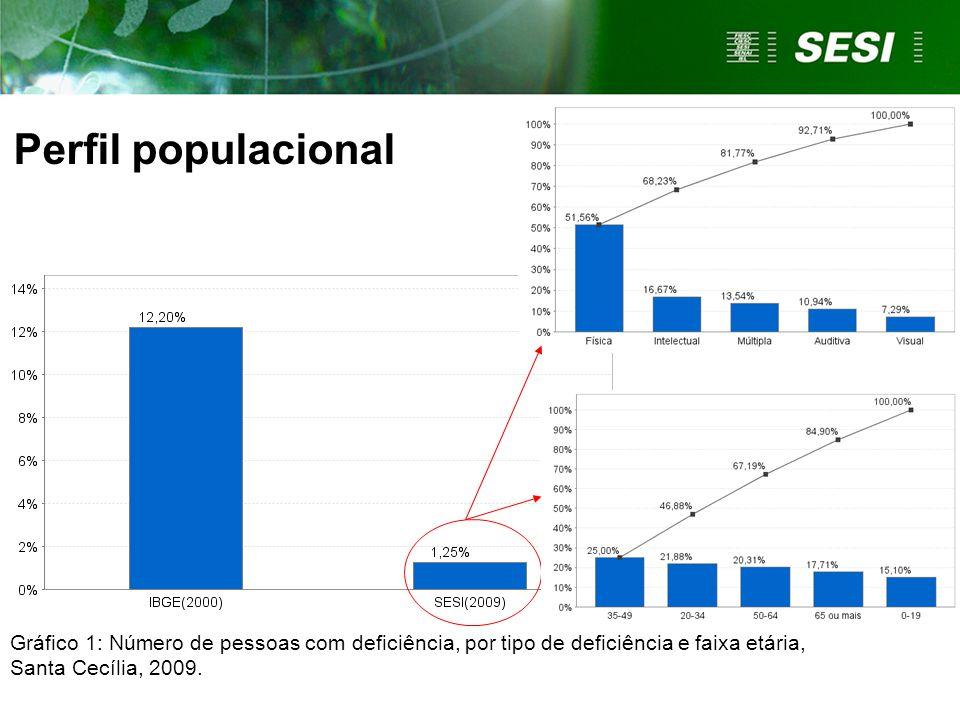 Perfil populacional Gráfico 1: Número de pessoas com deficiência, por tipo de deficiência e faixa etária, Santa Cecília, 2009.