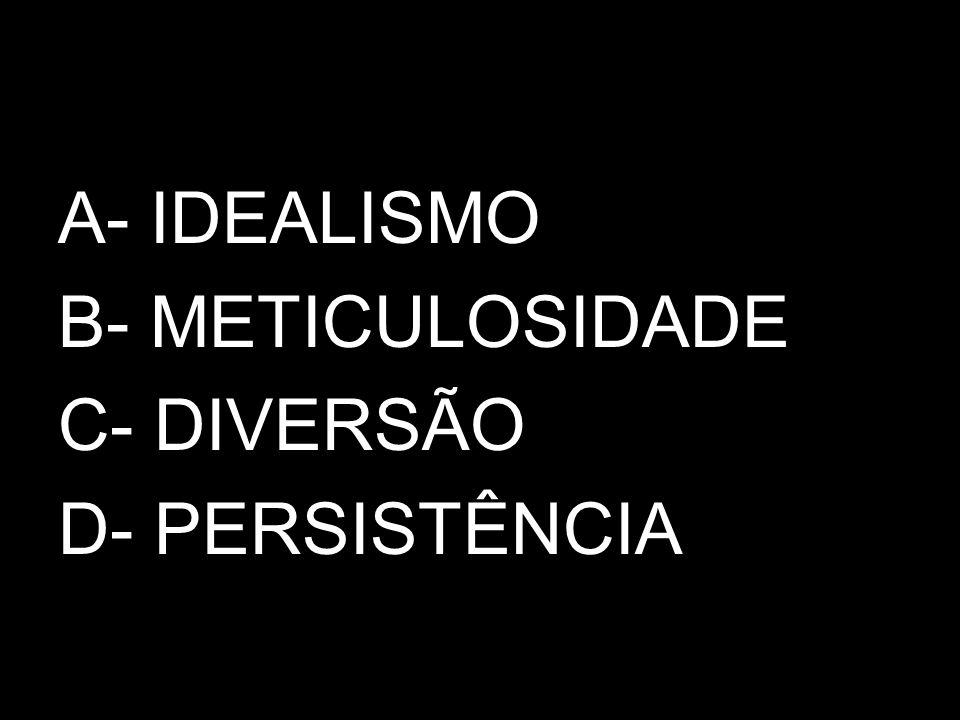 A- IDEALISMO B- METICULOSIDADE C- DIVERSÃO D- PERSISTÊNCIA