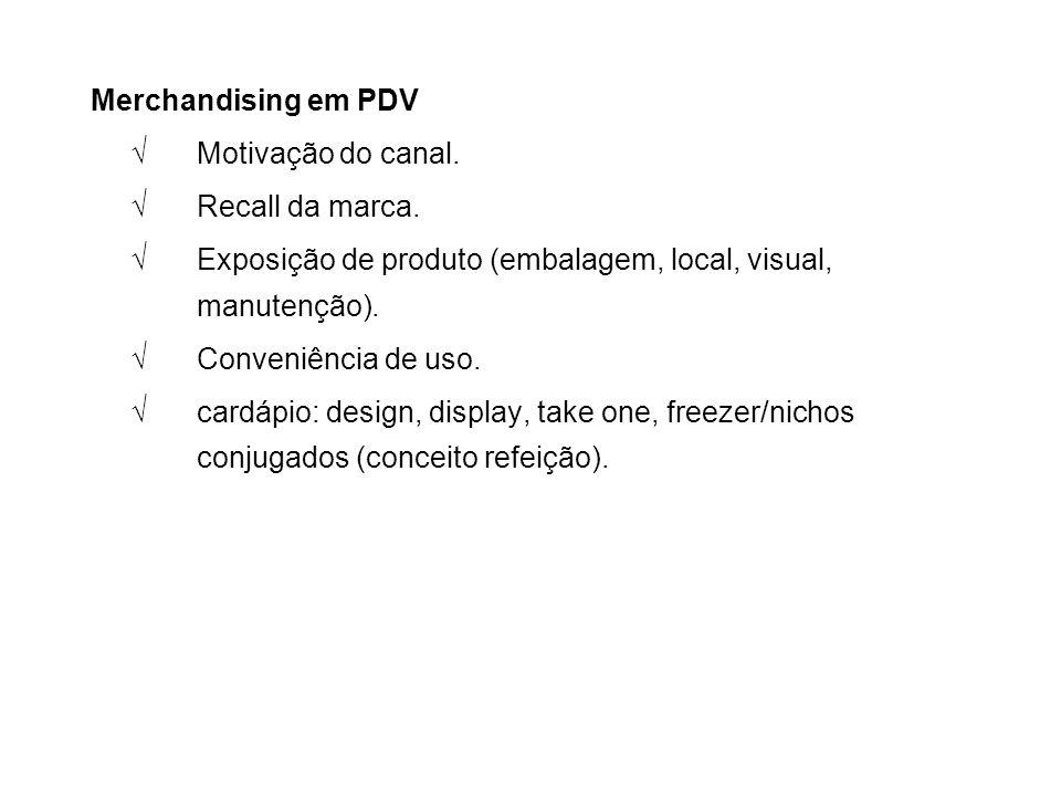 Merchandising em PDV √ Motivação do canal. √ Recall da marca. √ Exposição de produto (embalagem, local, visual, manutenção).