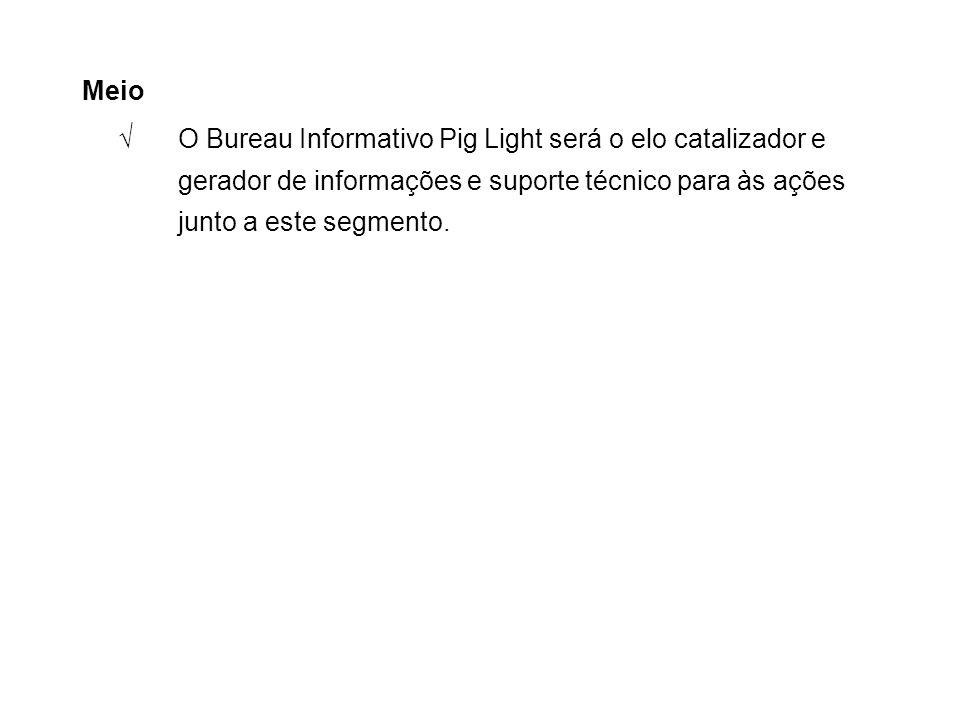 Meio √ O Bureau Informativo Pig Light será o elo catalizador e gerador de informações e suporte técnico para às ações junto a este segmento.