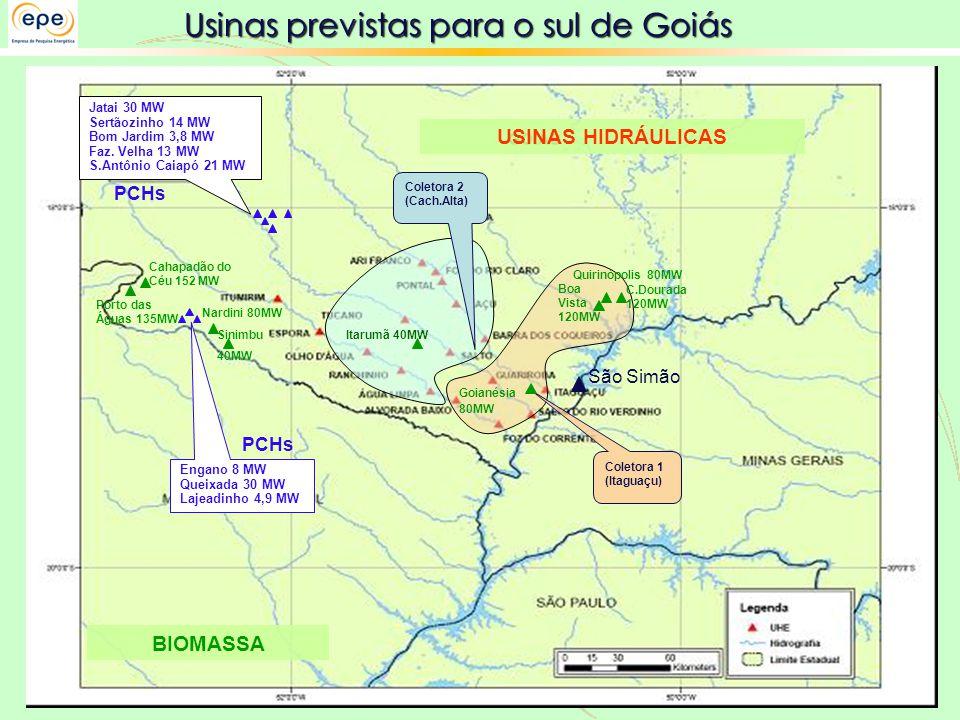 Usinas previstas para o sul de Goiás