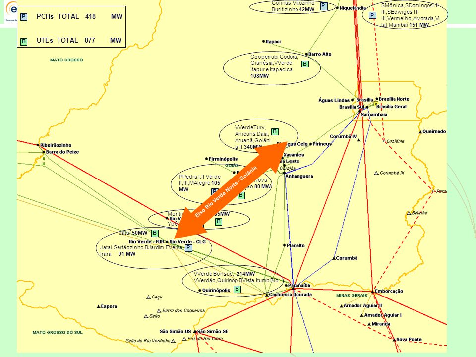 PCHs TOTAL 418 MW UTEs TOTAL 877 MW Colinas,Vãozinho, Buritizinho 42MW