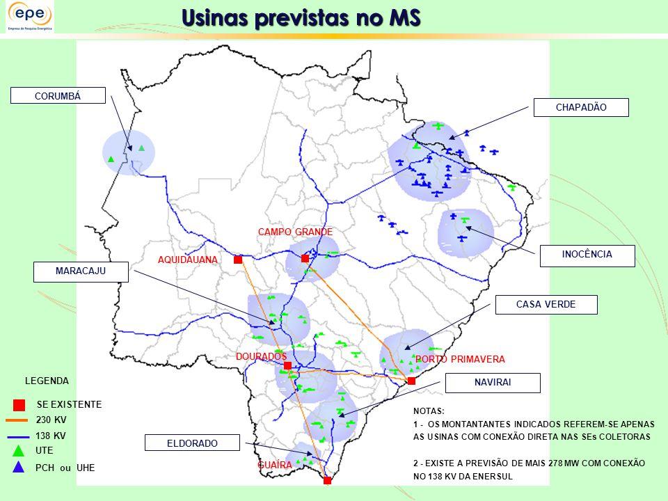Usinas previstas no MS CORUMBÁ CHAPADÃO CAMPO GRANDE INOCÊNCIA