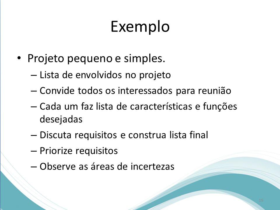 Exemplo Projeto pequeno e simples. Lista de envolvidos no projeto