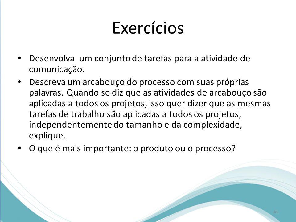Exercícios Desenvolva um conjunto de tarefas para a atividade de comunicação.
