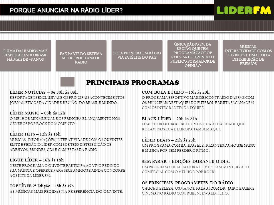 PRINCIPAIS PROGRAMAS PORQUE ANUNCIAR NA RÁDIO LÍDER