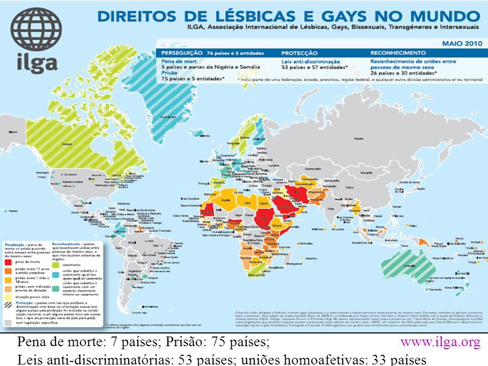 Pena de morte: 7 países; Prisão: 75 países; www.ilga.org