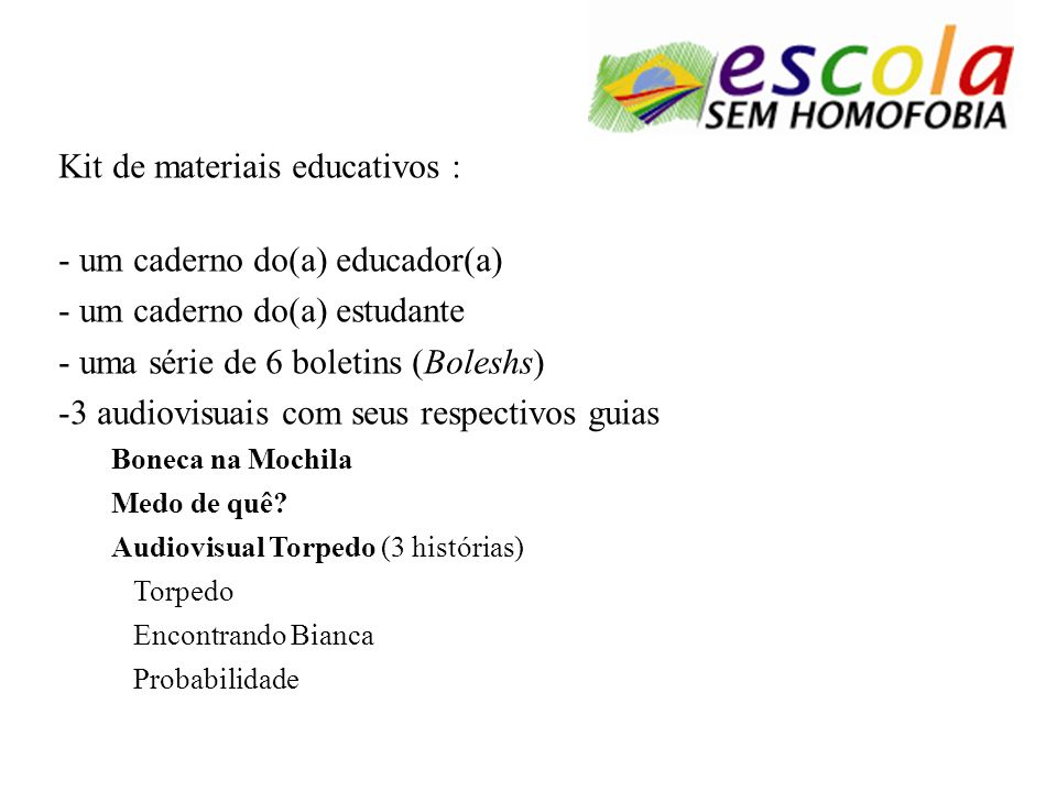 Kit de materiais educativos : um caderno do(a) educador(a)