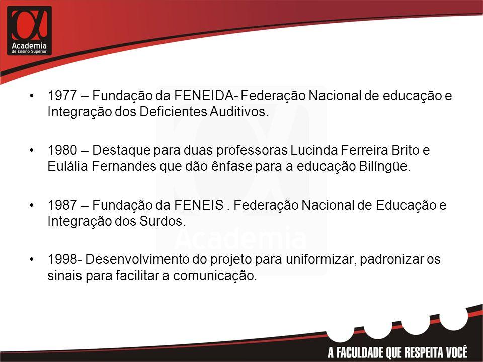 1977 – Fundação da FENEIDA- Federação Nacional de educação e Integração dos Deficientes Auditivos.