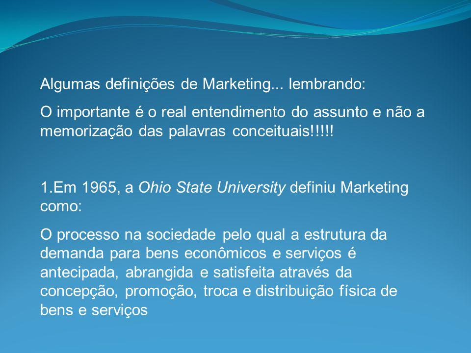 Algumas definições de Marketing... lembrando: