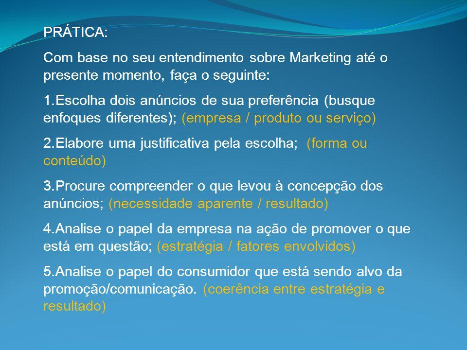 PRÁTICA: Com base no seu entendimento sobre Marketing até o presente momento, faça o seguinte: