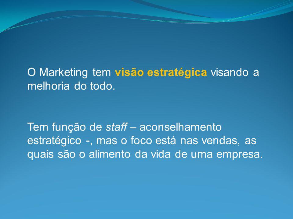 O Marketing tem visão estratégica visando a melhoria do todo.