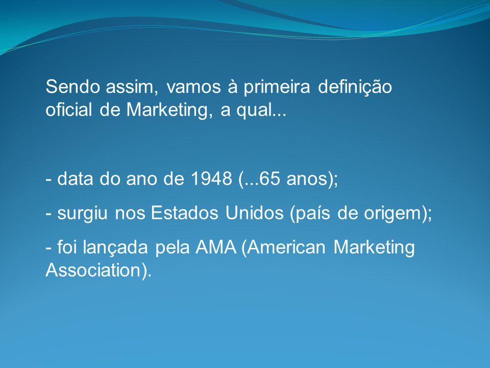 Sendo assim, vamos à primeira definição oficial de Marketing, a qual...