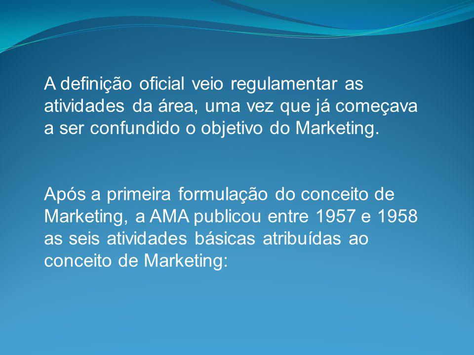A definição oficial veio regulamentar as atividades da área, uma vez que já começava a ser confundido o objetivo do Marketing.